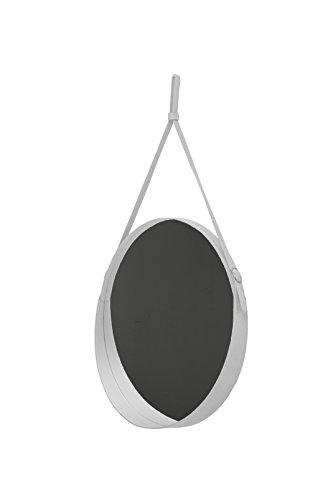 Corium 60: Miroir Mural Rond, Cadre et Ceinture Totalement en Cuir Blanc, Miroir de beauté, conçu par Limac Design®, 100% Made in Italy.