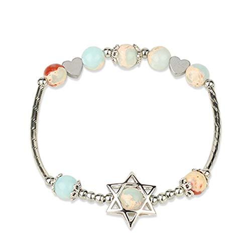HMANE 6mm Piedra Natural hexagrama Pulsera Redonda Perla Cristal Cuarzo Estrella de David corazón encantos Elastic Brazalete para Las Mujeres Chica 17cm