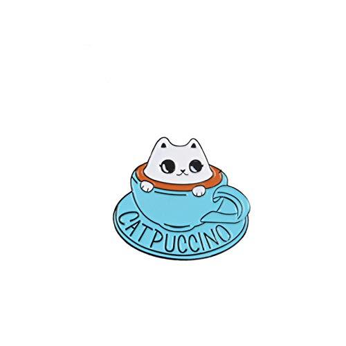 Gato café esmalte pin taza de café broche bolsa ropa pin de solapa insignia dibujos animados lindo animal joyería regalo para amigos niños