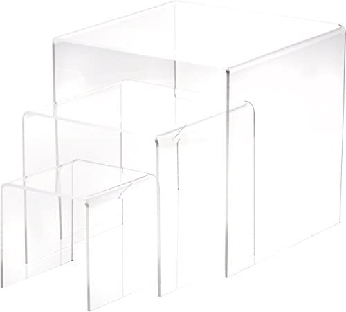 Best Plymor Clear Acrylic Square Display Risers, Assortment Pack, Set of 3 (Medium) (1/8