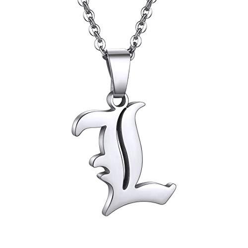 GoldChic Colgante L collar acero iniciales letra L mujer hombre Colgante letra estilo gotico