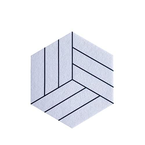 CShuiQing-Prevención del ruido Azulejos De Tablero De Corcho, Tableros De Fieltro Hexagonal Tableros De Visualización Multifuncional Tablero De Notas De Fieltro Para Notas, (Size:19*29CM*11MM,Color:E)