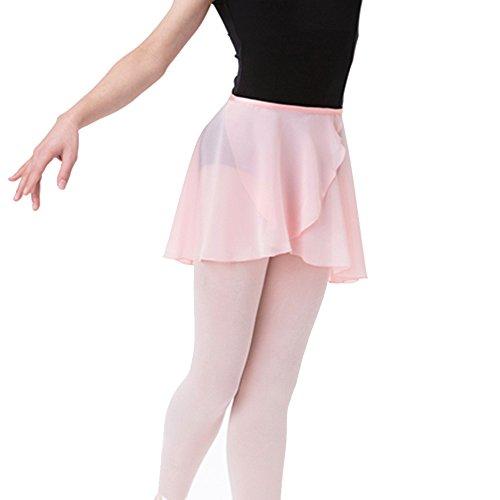 Bezioner Ballettrock Wickelrock Tanz Rock aus Chiffon Mit Taille Krawatte für Mädchen und Damen Rosa S