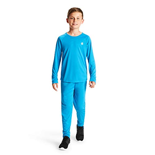 Dare 2b Kinder Elate Lightweight Fast Wicking Quick Drying Performance Ski and Snowboard Active Outdoor Base Layer Set with Anti-Bacterial Odour Control Treatment Baselayer, Blau (Atlantik), 7-8