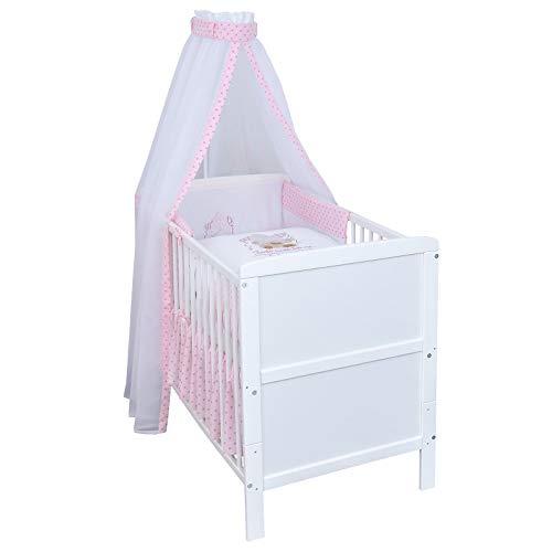 Baby Delux Babybett Komplettset umbaubar Juniorbett weiß 140x70 mit mehrteiligem Bettset Twinkle Star Rosa
