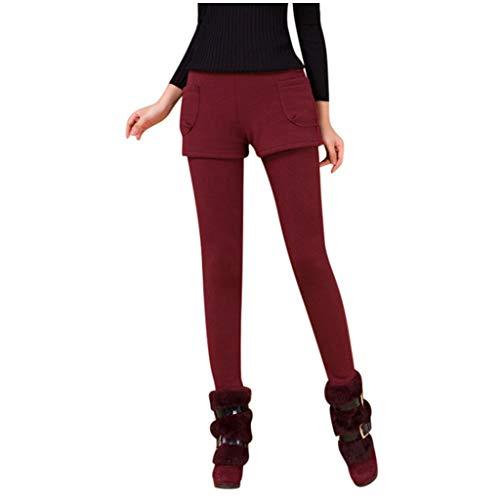 Zarupeng dames stretch leggings hoge taille slanke vervalste tweedelige lange broek eenkleurig warm potlood broek vrijetijdsbroek