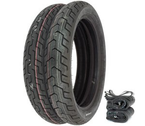 Dunlop D404 Tire Set - Compatible with Honda SL350K CB400A/T CB/CL450K CB500/550/750 - Tires Tube and Rim Strips