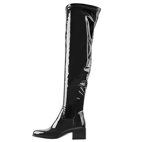 Only maker Damen Overknees Blockabsatz Stiefel mit Reißverschluss Lack Schwarz 46 EU