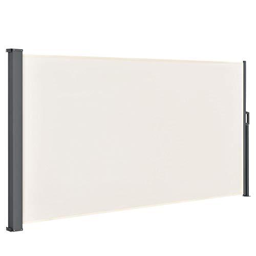 ArtLife Seitenmarkise Dubai 200 x 300 cm ausziehbar Blickdicht, Sichtschutz & Windschutz für Balkon & Terrasse, Seitenrollo mit Wandhalterung - beige