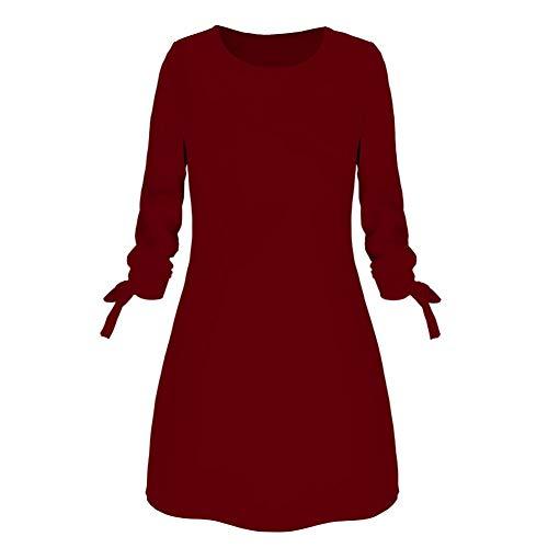 gLoaSublim Vestidos casuales para mujer, oficina de viaje, color sólido, lazo de 3/4 manga con cuello…
