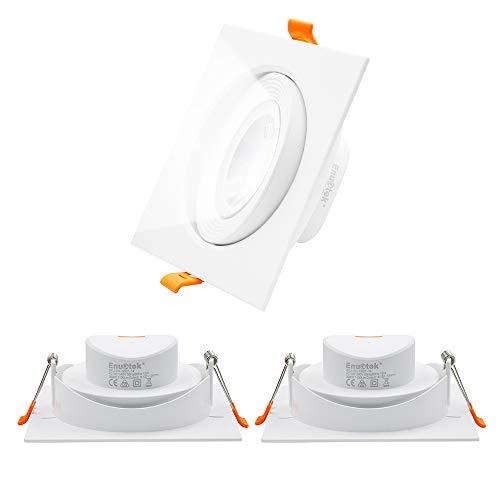 Luces Plafones Focos Downlight LED Empotrables Cuadrados Orientables para Techo Inclinado 12W 1100Lm Luz Fria 5000K Agujero de Techo Diámetro 120-130MM Lot de 3 de Enuotek