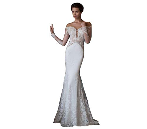 Ai Maria Women's Mermaid Wedding Dresses Off The Shoulder Lace Sexy Open Back Bridal Gowns White