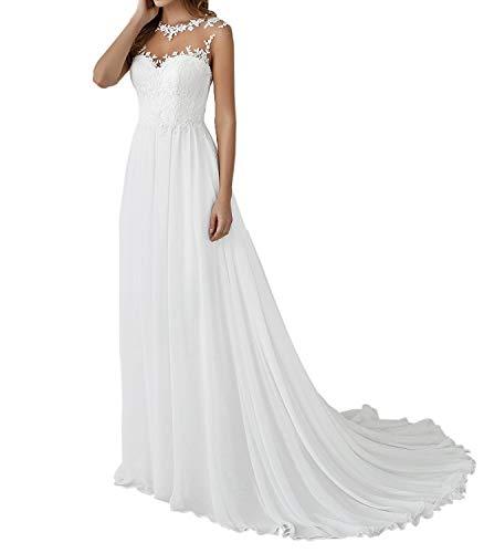 Cloverbridal Damen Hochzeitskleid Elegant Lang Weiß Vintage Spitze Chiffon A Linie Hochzeitskleider Brautkleid Große Größen mit Schleppe Elegante Brautmode Festkleider Weiß 52