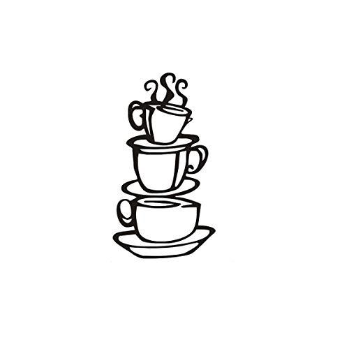 LING YUN Co,Ltd Taza De Café Creativa Pegatina De Pared De Vinilo Cocina Restaurante Pared Artista Decoración del Hogar 21X38Cm