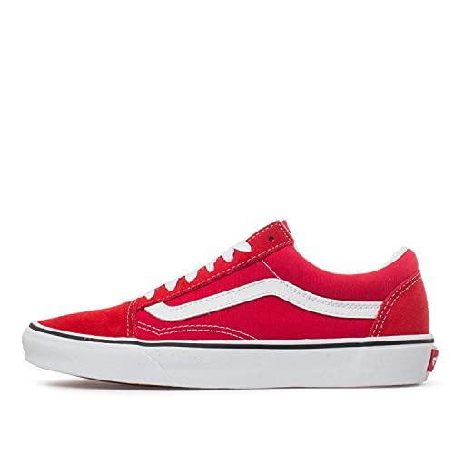 Vans Unisex Old Skool Skateboarding Shoes, Racing Red True White, 11 Women/9.5 Men
