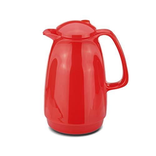 ROTPUNKT Isolierkanne 220 Bella 1,0 l | Zweifunktions-Drehverschluss | BPA-frei - gesundes Trinken | Made in Germany | Warm + Kalthaltung | Glaseinsatz | Crazy red