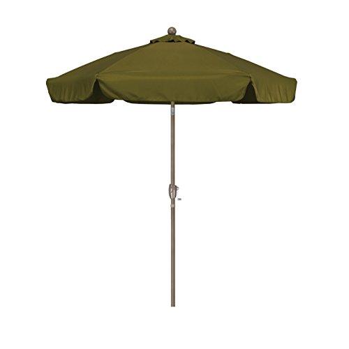 California Umbrella 7.5' Round Aluminum Pole Fiberglass Rib Umbrella, Crank Open, Push Button 3-Way Tilt, Champagne Pole, Palm Green