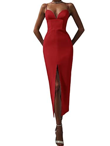 Onsoyours Damen Abendkleid Cocktailkleid Eng Anliegend Sexy Bodycon Abschlussball Partykleidung Kleid V-Ausschnitt Ärmellos Maxikleid mit Geschlitzt A Rot S