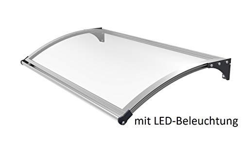 SCHARTEC Aluminium Vordach mit LED Beleuchtung und Bewegungsmelder - Haustür Überdachung in zwei Größen - Haustürvordach - Pultvordach mit Licht (1200 x 1000 mm)