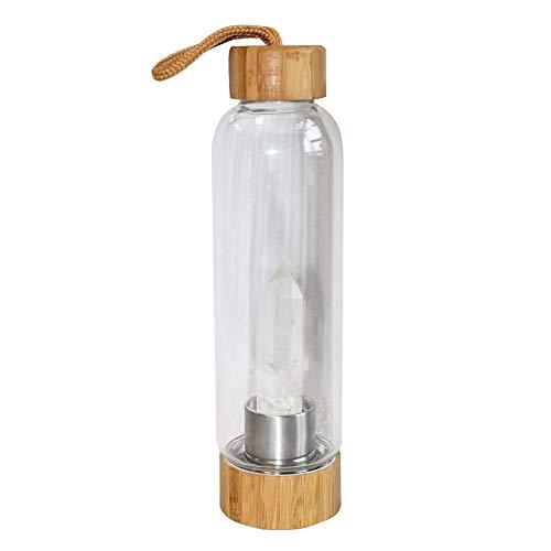 FuLanDe Botella de Cristal de Cuarzo Natural, Botella de Agua de Cristal Premium + Funda Protectora + Cristal extraíble, Botella de energía de Vidrio portátil 550 ML