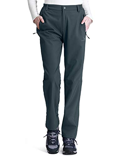 CAMEL CROWN Womens Softshell Pants Fleece Lined Waterproof Windproof Ski Snow Insulated Hiking Hunting Trousers Grey S