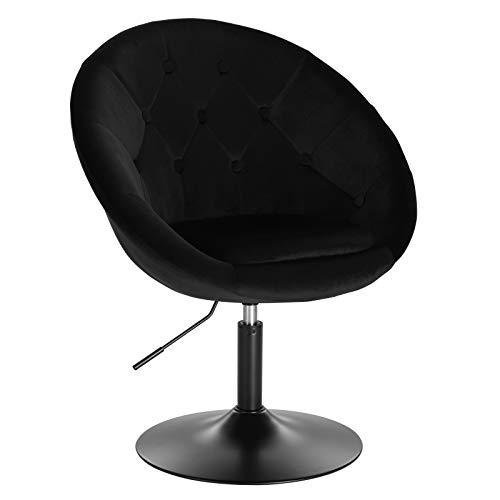 WOLTU® BH222sz-1 1 x Barsessel Loungesessel mit Armlehne, stufenlose Höhenverstellung, Samt, Schwarz