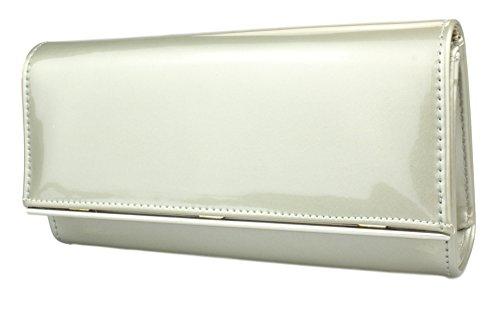 2Store24 Damen Lack Handtasche/Clutch/Abendtasche Elegante Tasche in grau