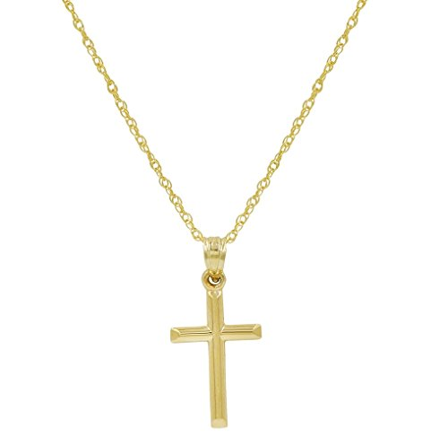 10K Yellow Gold Cross Pendant Necklace on a 10K Yellow Gold 18 in. chain