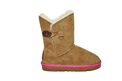 Reissner Lammfelle Lammfell Boots Lara Hellbraun mit Pinker Einfassung Halbstiefel Schlupfstiefel Winterstiefel (Halbschaft) Hellbraun-pink, Größe 38