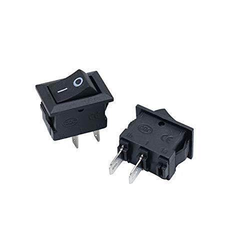 Interruptor basculante 15 PCS Mini Interruptor de Rocker SPOR SPST Negro Y Red Encendido INTERPUESTOS Botón AC 250V 3A / 125V 6A 2 Pin E/S E/S 10 * 15mm Interruptor de Encendido Rocker
