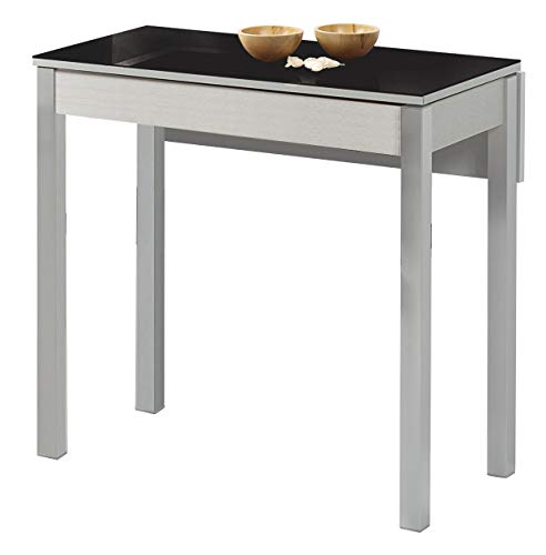 ASTIMESA Mesa de Cocina con Ala Caída de Cristal Negro 50x90cm