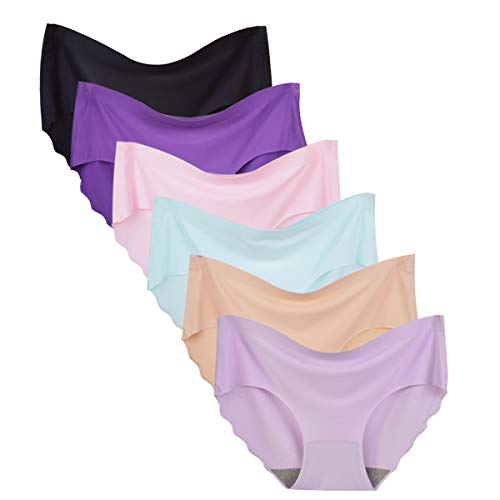 Bolivelan Women's Invisible Seamless Hipster Panties Mid-Rise No Show Laser Cut Brief Underwear Pack of 6