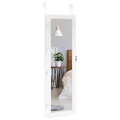GOPLUS Schmuckschrank mit LED, Schmuckregal Türmontage & Wandmontage, Schmuckkasten mit Spiegel, Wandspiegel Multifunktional, Große Kapazität, Weiß, 120 x 37 x 8,7 CM