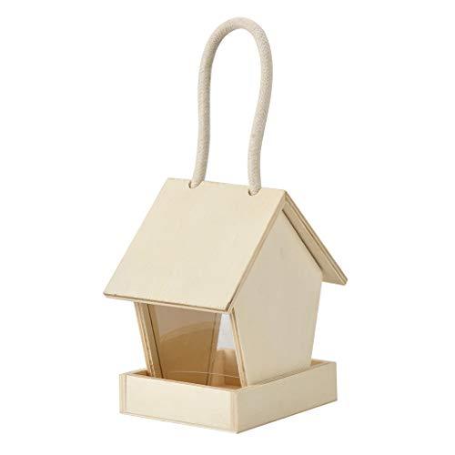 Rameng Mangeoire pour Oiseaux Exterieur en Bois Décoration à Suspendre Mangeoires à Graines Mangeoire Sauvage pour Jardin (B)
