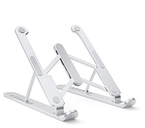 HUICHENG Soporte Portátil Soporte Portátil Plegable de Aluminio Soporte para Portátil Base Ajustable para Tablet para PC Macbook Pro Soporte de Refrigeración Ventilado (Plata (100% Aluminio)