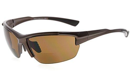 Eyekepper TR90 Sport Halbrandlose Bifokale Sonnenbrille Baseball Laufen Angeln Fahren Golf Softball Wandern Leser (Perliges Braun)