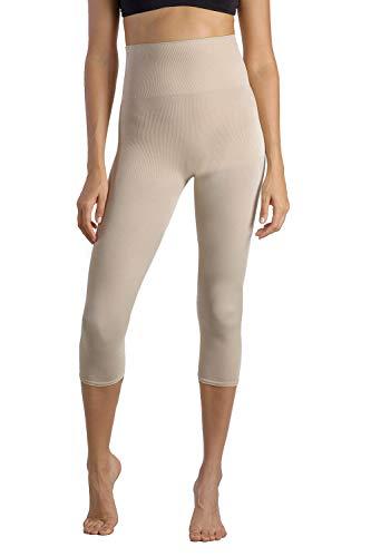 +MD Fajas de Cintura Alta Capri para Mujer Legging Tight Tummy Hips y Thigh Medium Control Shaper Piel Claro Large