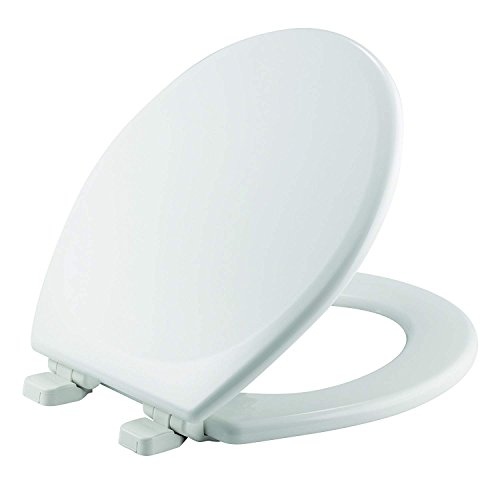 Mayfair 843SLOW 000 Lannon Toilet Seat will Slow Close and Never Loosen Durable Enameled Wood, 1 Pack - ROUND, White