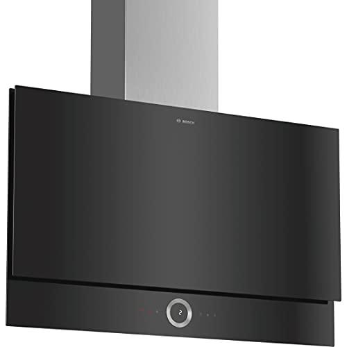 Bosch DWF97RV60 Serie 8 Wandesse / B / 90 cm / Klarglas Schwarz / wahlweise Umluft- oder Abluftbetrieb / TouchSelect Bedienung / Silence / PerfectAir / Metallfettfilter (spülmaschinengeeignet)