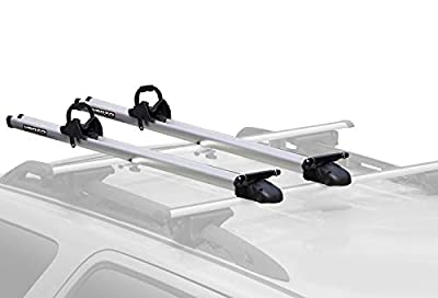 Venzo 2X Clamp on or T Bolt Attachment to Cross Bars 9 or 10mm QR Compatible Aluminum Carrier Bicycle Fork Mount Rack - for Car Roof - Rooftop Upright for SUV - Mountain & Road Bike