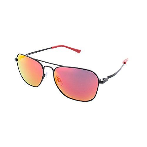 H.I.S Polarized zonnebril metaal HP64100, zwart, grijs/rode glazen, 1 stuk