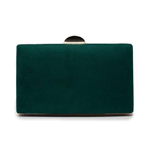 Euforia Modas - Bolso para fiesta elegante tipo clutch con correa (Verde Botella)