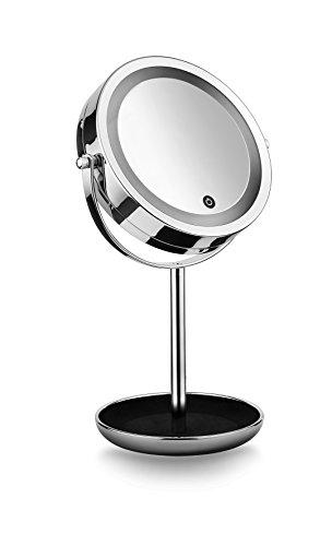 Macom - Sensation 213A - Sirio Classy - Miroir Double grossissant (7 x) Lumineux avec lumières LED SMD - Adapté pour Le Maquillage, avec Emplacement à la Base pour Petits Objets