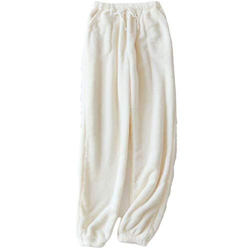 Pantaloni da pigiama in pile di flanella, da donna, da uomo, invernali, caldi, in peluche, comodi pantaloni da jogging con tasche Donna/Bianco XXL