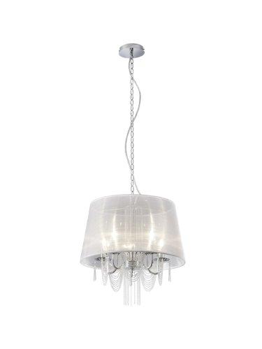 Trio Leuchten Krone mit Stoffschirm weiß, Behang chrom/klar 110400501