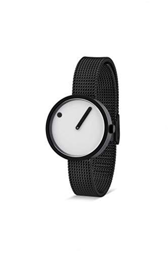 Picto Dames Horloge met 30mm Zwart IP Case Witte Wijzerplaat en Zwarte Mesh Band 43343-1012
