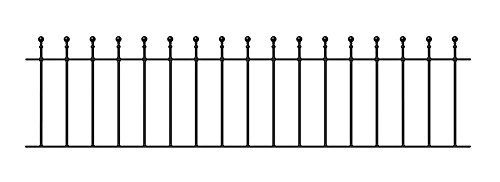 Manor Ball Top Garden Fencing Panel 1830mm (6ft) GAP x 455mm High wrought iron metal fence railing MA03