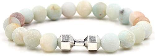 Stenen Armbanden Voor Vrouwen7 Chakra Natuurlijke Matte Amazoniet Kralen Armband Elasticiteit Armband Mode Zilveren Halter Boho Yoga Dame Sieraden Cadeau Voor Vriendin Moeder