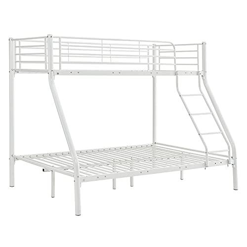 ArtLife Hochbett Jonas – Etagenbett 90/140 x 190 cm mit Leiter & Rausfallschutz für 3 Personen bis max. 150/300 kg – Stockbett aus Metall in Weiß