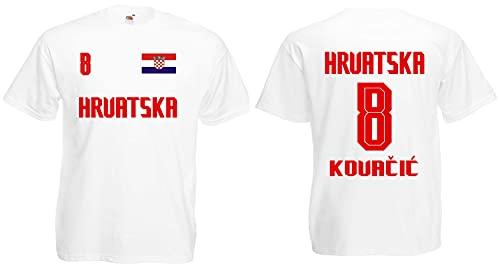 Croatia/Kroatien Kovačić Herren T-Shirt EM 2020 Trikot Look Style Weiß M